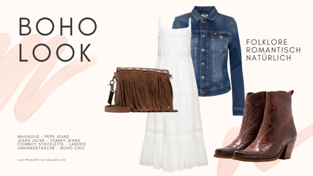 Boho Look: Maxikleid in Trendfarbe Weiss, Jeansjacke, Cowboy Stiefeletten und Fransentasche