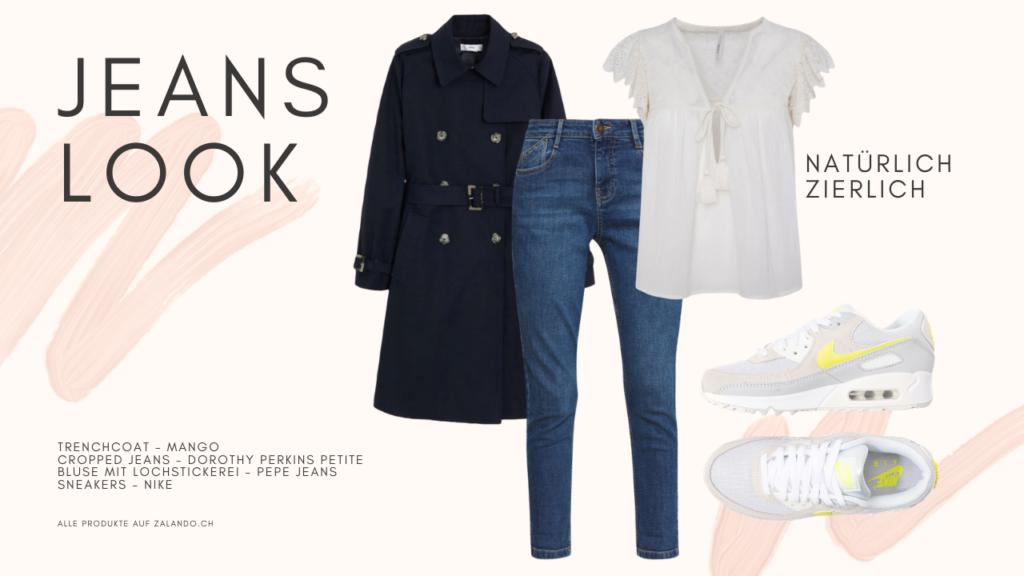 Jeans Look: Cropped Jeans, Kurzarm-Bluse mit Lochstickerei in der Trendfarbe Weiss, Trenchcoat und Sneakers