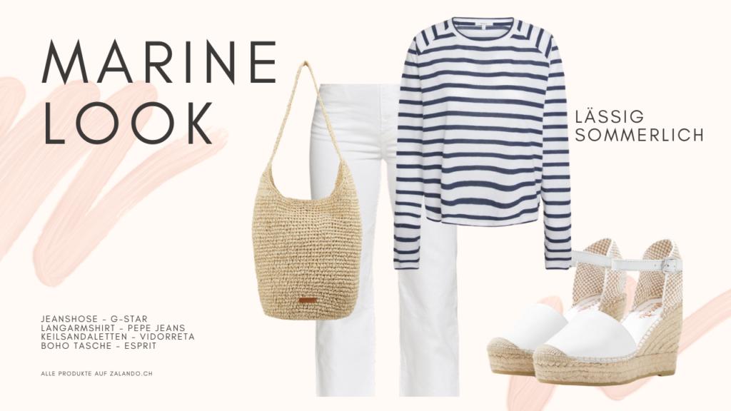 Maritimer Look: Weisse Jeans, Ringelshirt, Keilsandaletten und Boho Strohtasche