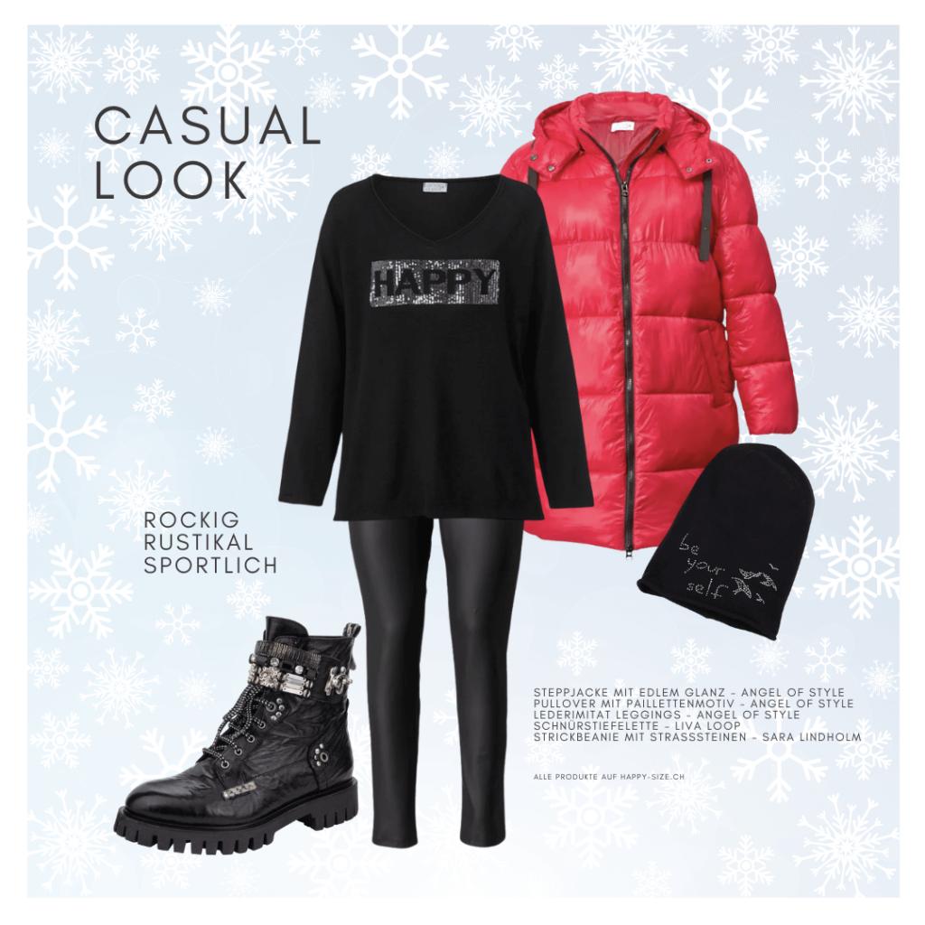 Casual Look mit Stil: Fake Leather Hose, Pullover mit Paillettenapplikation, Daunenmantel, Beanie-Mütze und Schnürstiefeletten