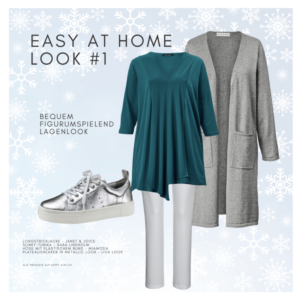 Easy at home Winter Look: weisse Jeans, Tunika, Strickjacke und Sneaker