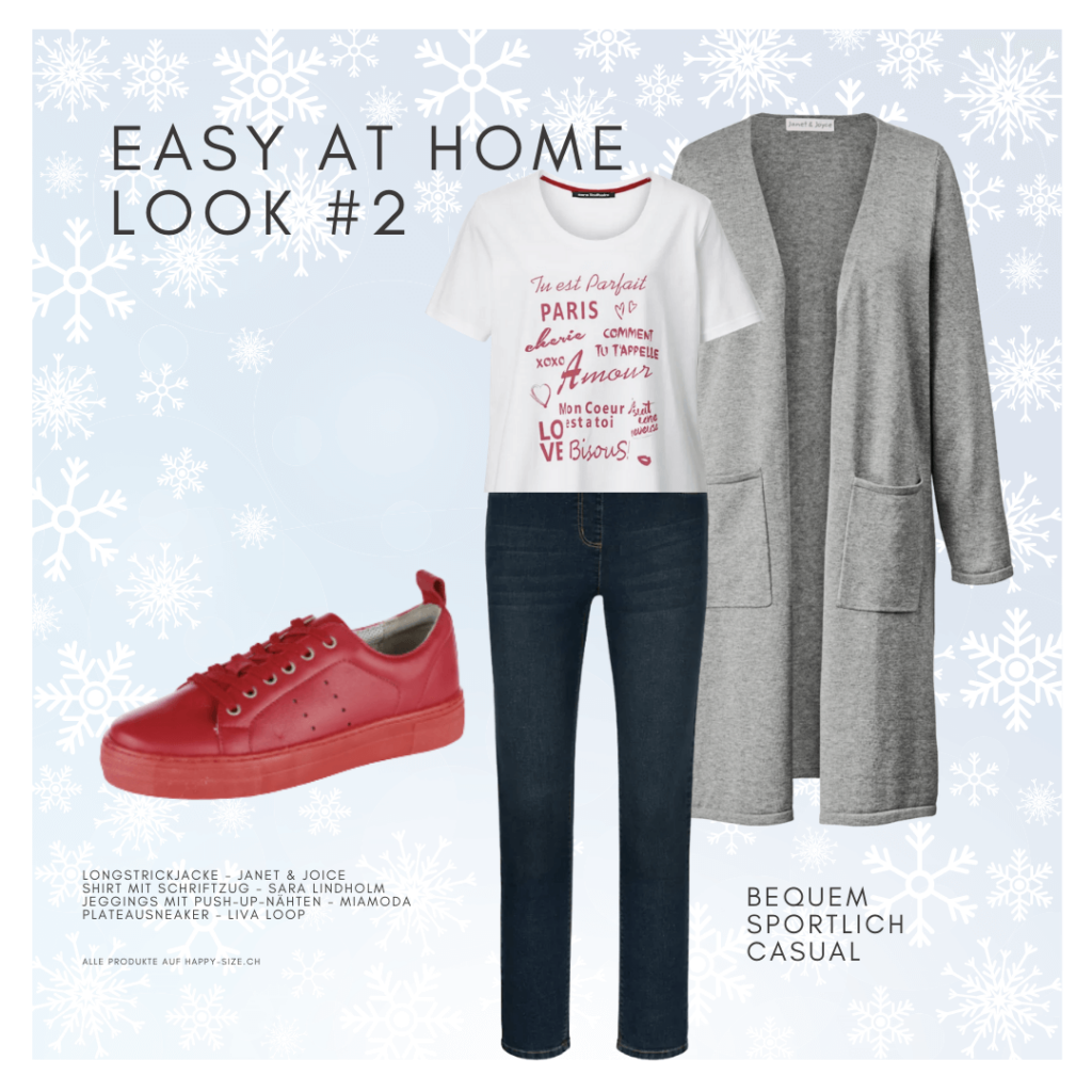 Easy at home Winter Look: Jeans, T-Shirt, Strickjacke und Sneaker