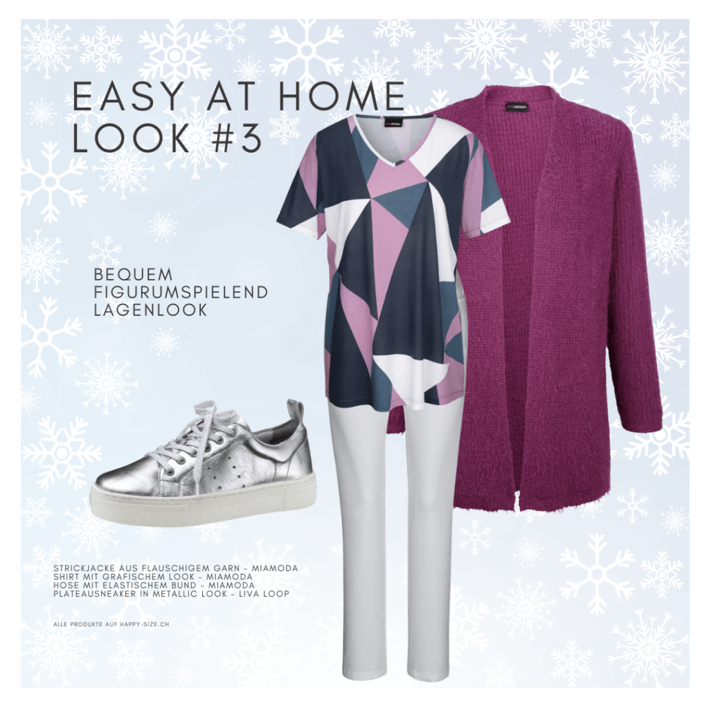 Easy at home Look für einen stilvollen Wintertag: weisse Jeans, Print Shirt, flauschiger Strickjacke und Sneaker