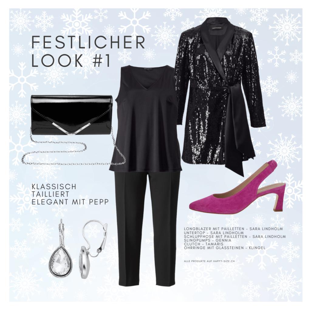 Festlicher Look mit Stil: Schlupfhose, extravagantem Longblazer mit Pailletten und pinkfarbenen Pumps
