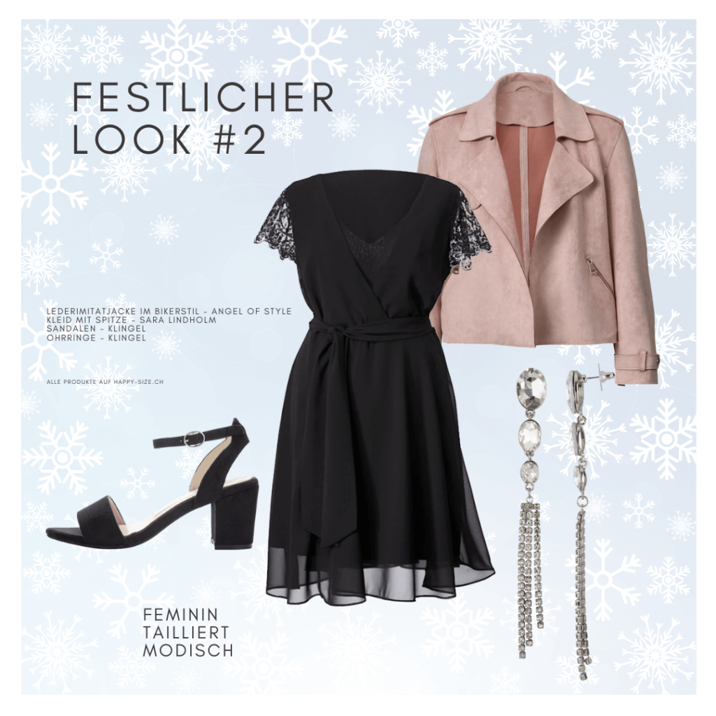 Festlicher Look für grosse Grössen: knielanges Kleid mit Spitze, Lederimitatjacke und Sandalen