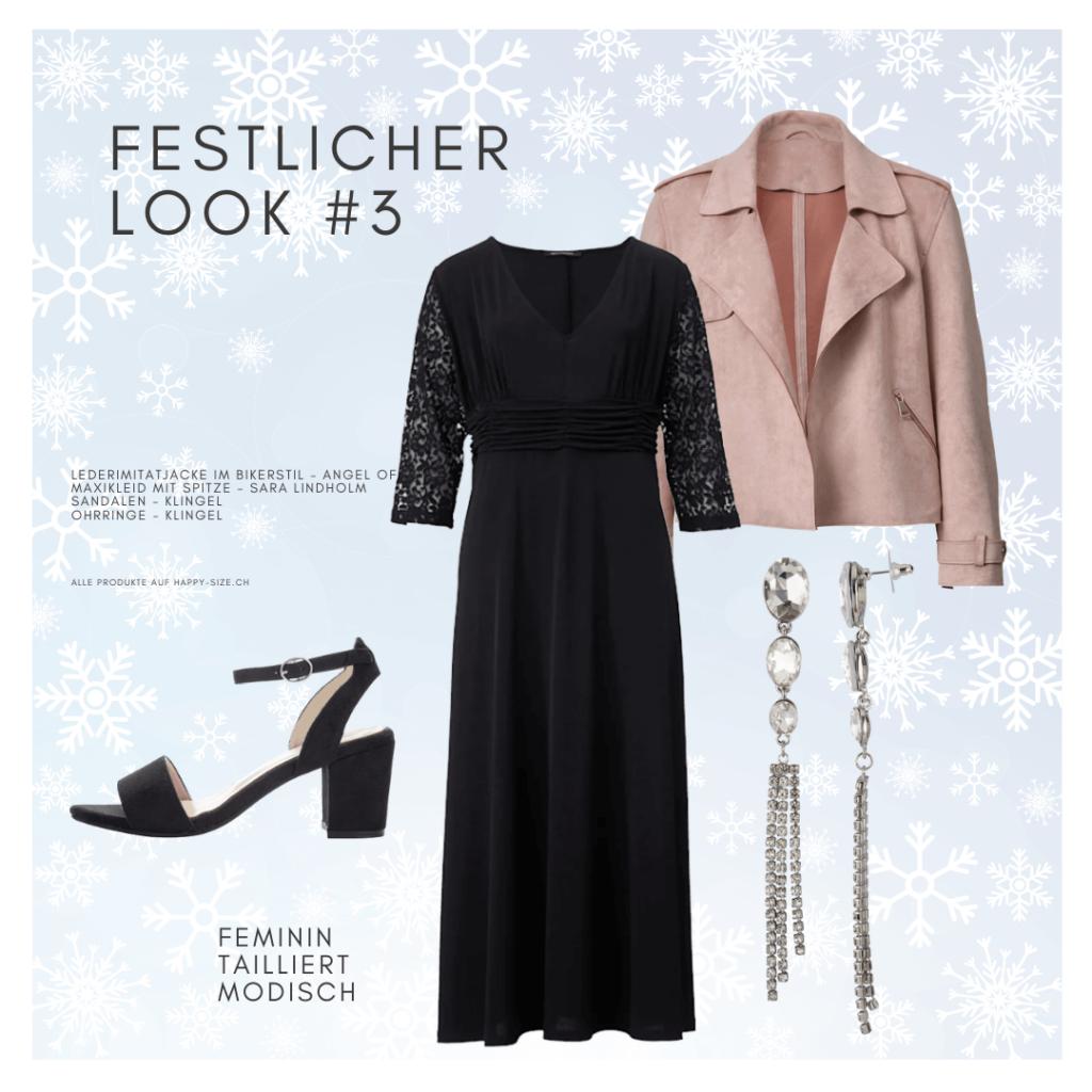 Festlicher Look mit Stil: Maxikleid mit Spitzenärmeln, Fake Leather Jacke und Sandalette